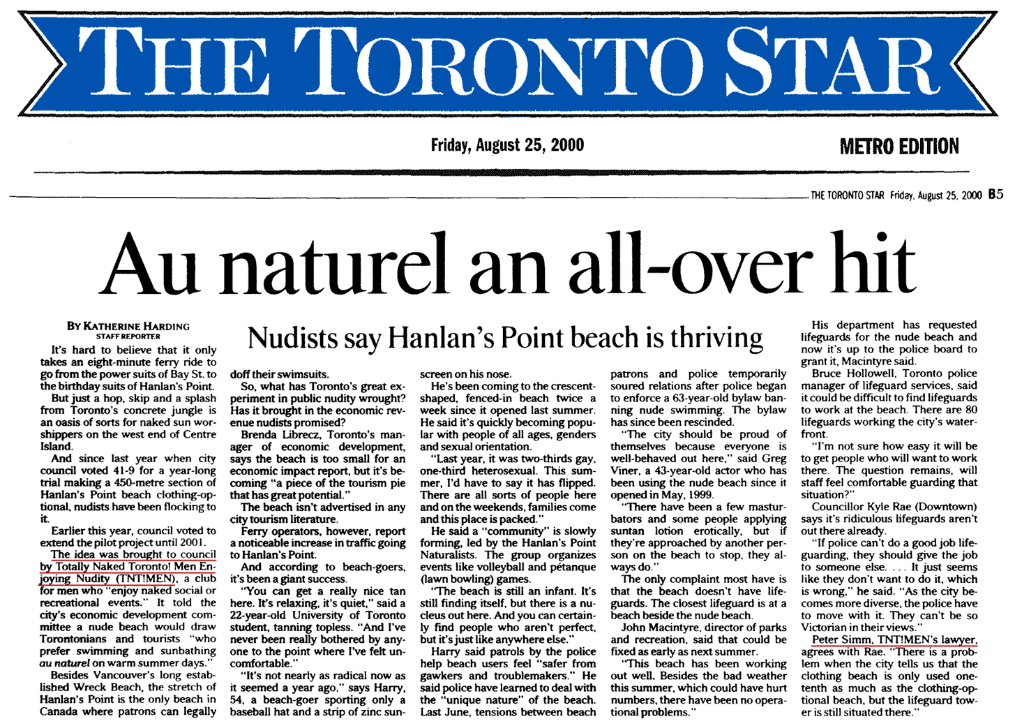 Toronto Star 2000-08-25 - Simm's idea, the Hanlan's Point CO-zone, has proven a success